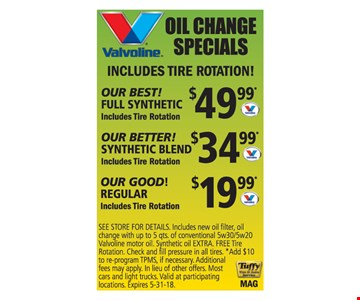 Oil change for as low as $19.99.