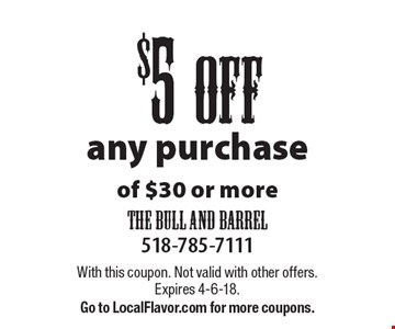 $5 off any purchase of $30 or more. With this coupon. Not valid with other offers. Expires 4-6-18. Go to LocalFlavor.com for more coupons.
