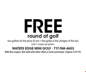 Free round of golf two golfers for the price of one - free golfer is the cheaper of the twoLimit 1 coupon per person. With this coupon. Not valid with other offers or prior purchases. Expires 5/31/18.