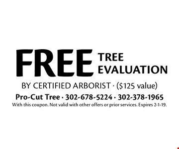 FREE tree evaluation by certified arborist - ($125 value). With this coupon. Not valid with other offers or prior services. Expires 2-1-19.