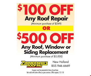 $100 Off Any Roof Repair or $500 Off Any Roof, Window or Siding Replacement