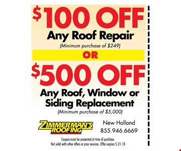 $100 off any roof repair