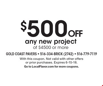 $500 OFF any new project of $4500 or more. With this coupon. Not valid with other offers or prior purchases. Expires 6-15-18. Go to LocalFlavor.com for more coupons.