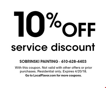 10% Off service discount. With this coupon. Not valid with other offers or prior purchases. Residential only. Expires 4/20/18. Go to LocalFlavor.com for more coupons.