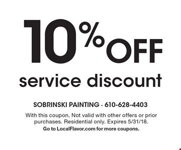 10% off service discount. With this coupon. Not valid with other offers or prior purchases. Residential only. Expires 5/31/18. Go to LocalFlavor.com for more coupons.