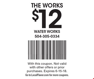 $12 THE WORKS. With this coupon. Not valid with other offers or prior purchases. Expires 6-15-18. Go to LocalFlavor.com for more coupons.