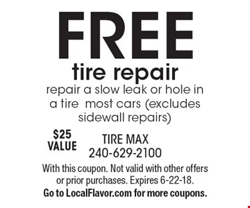 Free tire repair. Repair a slow leak or hole in a tire. Most cars (excludes sidewall repairs) $25 Value. With this coupon. Not valid with other offers or prior purchases. Expires 6-22-18.Go to LocalFlavor.com for more coupons.