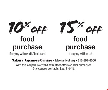10% off15% offfood purchasefood purchaseif paying with credit/debit cardif paying with cash . With this coupon. Not valid with other offers or prior purchases. One coupon per table. Exp. 6-8-18.
