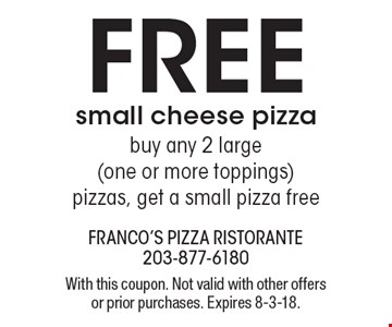 Free small cheese pizza buy any 2 large (one or more toppings) pizzas, get a small pizza free. With this coupon. Not valid with other offers or prior purchases. Expires 8-3-18.