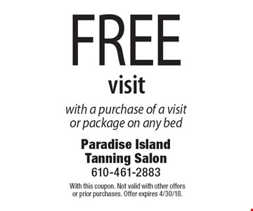 Free visit with a purchase of a visit or package on any bed. With this coupon. Not valid with other offers or prior purchases. Offer expires 4/30/18.
