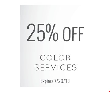 25% off color services. Expires 7-20-18.