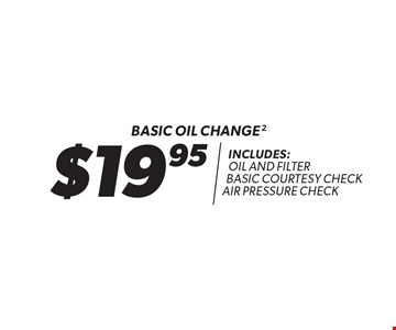 $19.95 Basic oil change Includes: oil and filter basic courtesy check air pressure check. 2. Oil change includes standard oil filter and up to 5 quarts of 5W30 conventional oil. Oil type based on availability and may vary by location. Additional disposal and shop supply fees may apply. Special oils and filters are available at an additional cost. Coupon must be presented at time of estimate. Valid on most cars and light trucks at participating Meineke U.S. locations only. Not valid with any other offers, special order parts or warranty work. See center manager for complete details. No cash value. Void where prohibited. Limited time offer. Offer ends 5/23/18.
