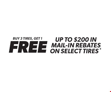 Buy 3 tires, get 1 FREE Up to $200 in Mail-In Rebates on Select Tires. Valid on in-stock product only. Minimum purchase of $150 before tax required. Coupon must be presented at time of estimate. Valid on most cars and light trucks at participating Meineke U.S. locations only. Not valid with any other offers, special order parts or warranty work. See center manager for complete details. No cash value. Void where prohibited. Limited time offer. Offer ends5/23/18.