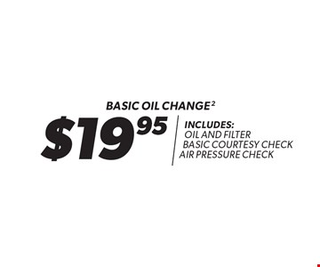 $19.95 Basic oil change. Includes: oil and filter basic courtesy check air pressure check. Oil change includes standard oil filter and up to 5 quarts of 5W30 conventional oil. Oil type based on availability and may vary by location. Additional disposal and shop supply fees may apply. Special oils and filters are available at an additional cost. Coupon must be presented at time of estimate. Valid on most cars and light trucks at participating Meineke U.S. locations only. Not valid with any other offers, special order parts or warranty work. See center manager for complete details. No cash value. Void where prohibited. Limited time offer. Offer ends 5/23/18.