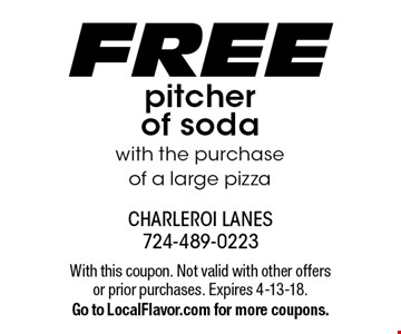 FREE pitcher of soda with the purchase of a large pizza. With this coupon. Not valid with other offers or prior purchases. Expires 4-13-18.Go to LocalFlavor.com for more coupons.