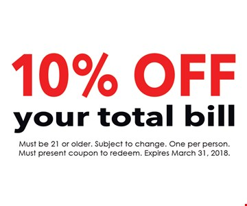 10% Off your total bill