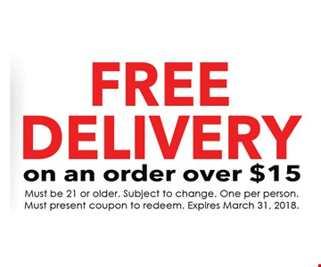Free Delivery on an order over $15