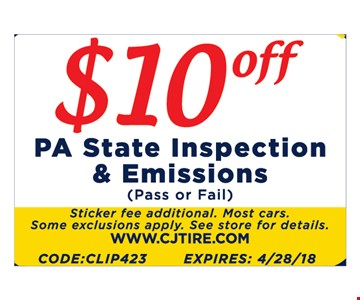 $10 Off PA State Inspection and Emissions