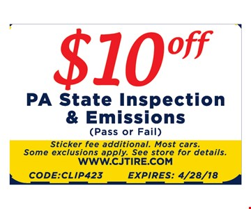 $10 off State Inspection and Emissions. pass or fail