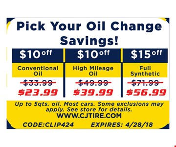 PICK YOUR OIL CHANGE SAVINGS! $23.99 CONVENTIONAL OIL | $39.99 HIGH MILEAGE | $56.99 FULL SYNTHETIC