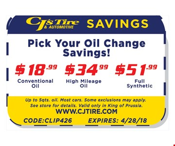 PICK YOUR OIL CHANGE SAVINGS! $18.99 CONVENTIONAL OIL | $34.99 HIGH MILEAGE | $51.99 FULL SYNTHETIC