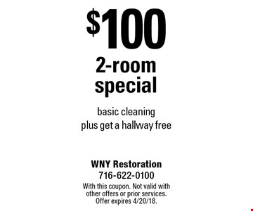 $100 2-room special - basic cleaning plus get a hallway free. With this coupon. Not valid with other offers or prior services. Offer expires 4/20/18.