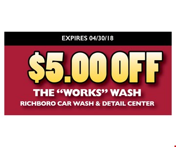 $5 off the Works Wash