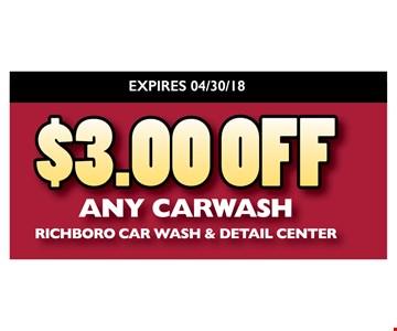 $3 off any carwash