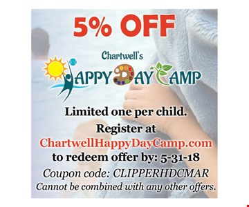 5% off Chartwells Happy Day Camp