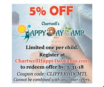 5% off Happy Day Camp.