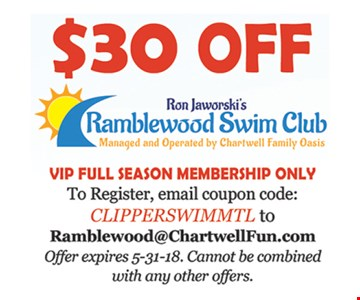 $30 off VIP full season membership.