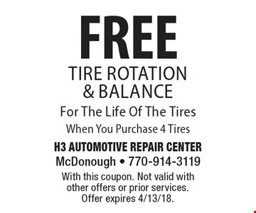 FREE Tire Rotation & Balance For The Life Of The Tires When You Purchase 4 Tires. With this coupon. Not valid with other offers or prior services. Offer expires 4/13/18.