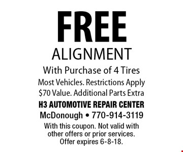 FREE Alignment With Purchase of 4 Tires Most Vehicles. Restrictions Apply$70 Value. Additional Parts Extra. With this coupon. Not valid with other offers or prior services. Offer expires 6-8-18.