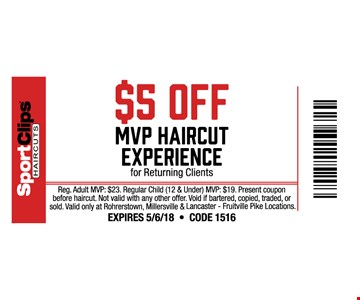 $5 off MVP Haircut Experience