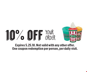 10% off Your Order. Expires 5.25.18. Not valid with any other offer. One coupon redemption per person, per daily visit.
