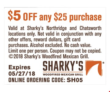 $5 off any purchase of $25