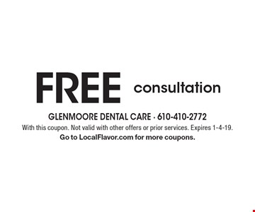 Free consultation. With this coupon. Not valid with other offers or prior services. Expires 1-4-19. Go to LocalFlavor.com for more coupons.