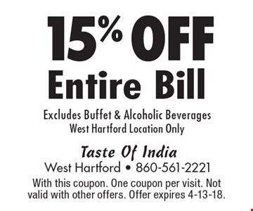 15% OFF Entire Bill Excludes Buffet & Alcoholic Beverages West Hartford Location Only. With this coupon. One coupon per visit. Not valid with other offers. Offer expires 4-13-18.