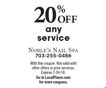 20% OFF any service. With this coupon. Not valid with other offers or prior services. Expires 7-24-18.Go to LocalFlavor.com for more coupons.