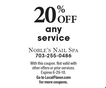 20% OFF any service. With this coupon. Not valid with other offers or prior services. Expires 6-29-18.Go to LocalFlavor.com for more coupons.