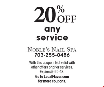 20% OFF any service. With this coupon. Not valid with other offers or prior services. Expires 5-29-18.Go to LocalFlavor.com for more coupons.