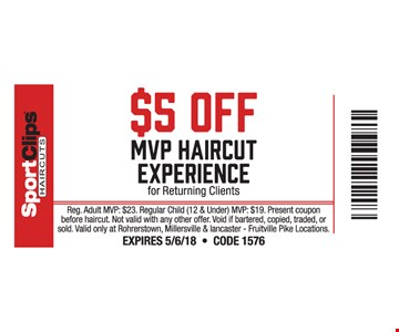 $5 Off MVP Haircut Experience for Returning Clients
