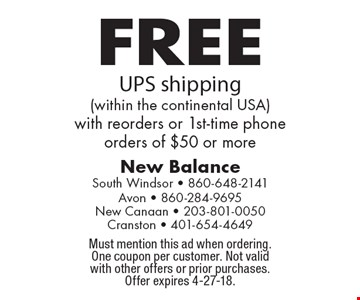 FREE UPS shipping (within the continental USA) with reorders or 1st-time phone orders of $50 or more. Must mention this ad when ordering. One coupon per customer. Not valid with other offers or prior purchases. Offer expires 4-27-18.