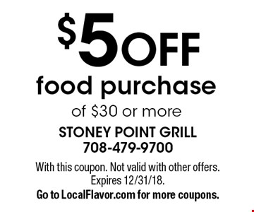 $5 off food purchase of $30 or more. With this coupon. Not valid with other offers. Expires 1/25/19. Go to LocalFlavor.com for more coupons.