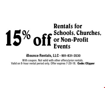 15% off Rentals for Schools, Churches, or Non-Profit Events. With coupon. Not valid with other offers/prior rentals.Valid on 8-hour rental period only. Offer expires 7-20-18.Code: Clipper