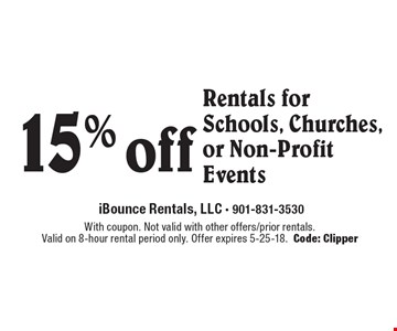 15% off Rentals for Schools, Churches, or Non-Profit Events. With coupon. Not valid with other offers/prior rentals. Valid on 8-hour rental period only. Offer expires 5-25-18. Code: Clipper
