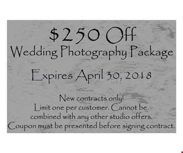$250 Off Wedding Photography Package
