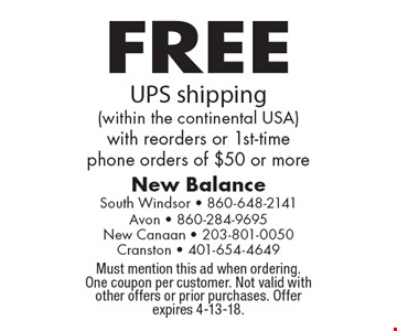 FREE UPS shipping (within the continental USA) with reorders or 1st-time phone orders of $50 or more. Must mention this ad when ordering. One coupon per customer. Not valid with other offers or prior purchases. Offer expires 4-13-18.