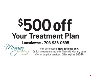 $500 off Your Treatment Plan. With this coupon. New patients only. On full treatment plans only. Not valid with any other offer or on prior services. Offer expires 8-13-18.