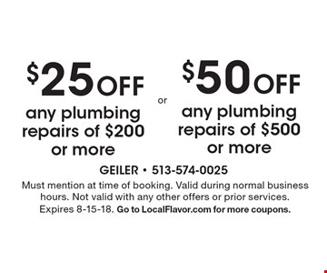 $50 off any plumbing repairs of $500 or more OR $25 off any plumbing repairs of $200 or more. Must mention at time of booking. Valid during normal business hours. Not valid with any other offers or prior services. Expires 8-15-18. Go to LocalFlavor.com for more coupons.